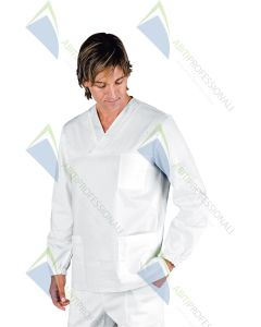 BLOUSE V NECK WHITE M / LONG UNISEX