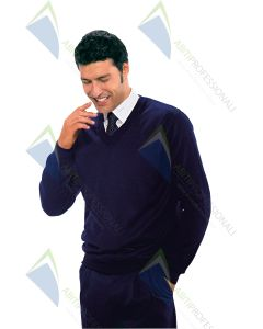A BLUE V NECK SWEATER WOOL 50% ACR. 50%