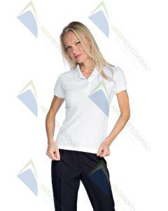 WOMEN'S POLO WHITE STRETCH COT.95% SMEARED