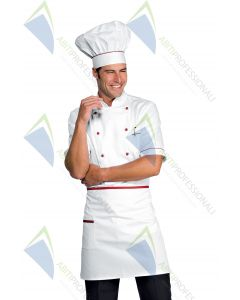 CHEF HAT WHITE + RED COT.100%