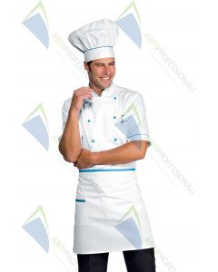 CHEF HAT WHITE + TURQUOISE COT.100%