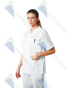 BLOUSE V NECK WHITE UNISEX COT.100%