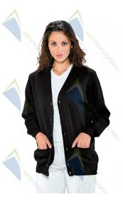 UNISEX BLACK CARDIGAN WOOL 50% ACR. 50%